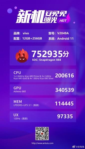 iQOO 7 появляется на AnTuTu с ключевыми характеристиками, набирает более 752000 баллов