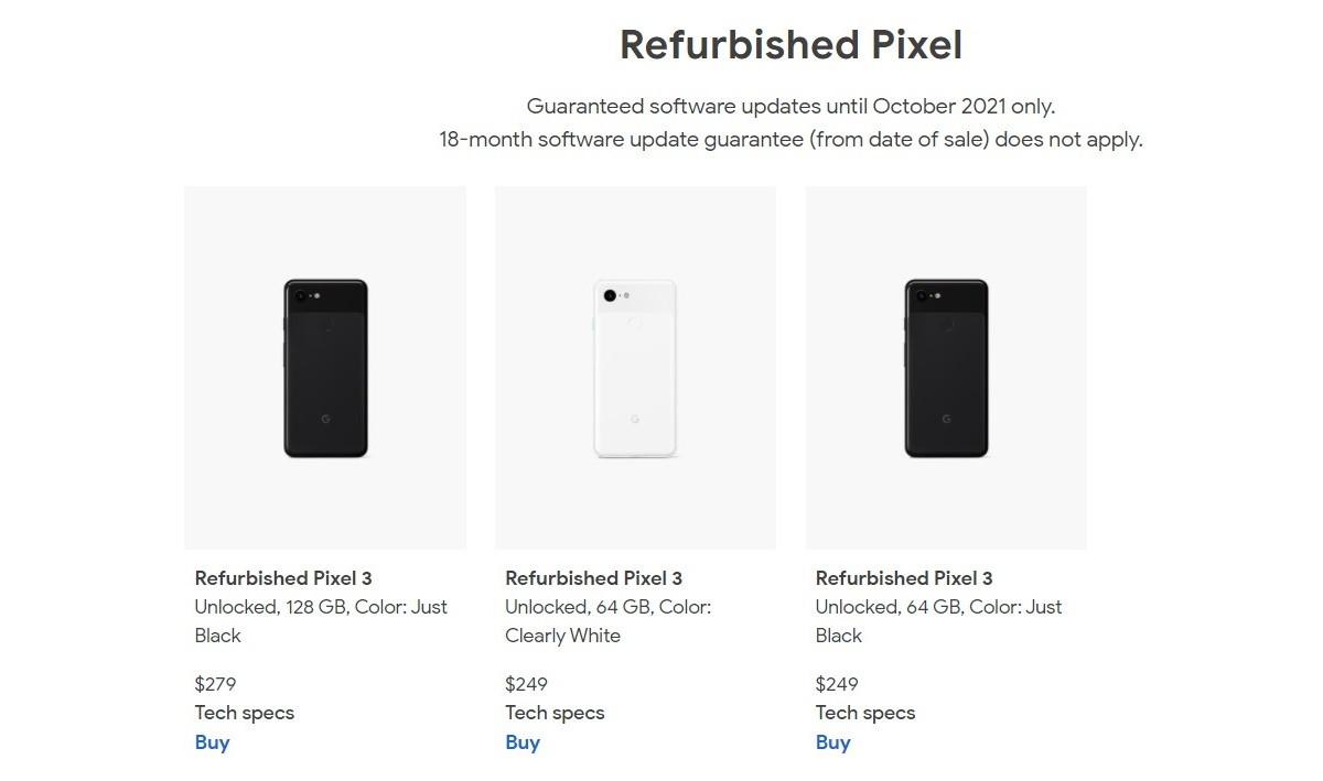 Вы можете теперь купите отремонтированный Pixel 3 по цене от 249 долларов