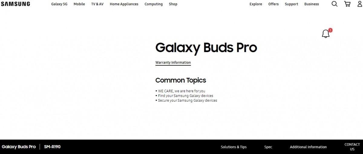 Название Samsung Galaxy Buds Pro подтверждено, когда страница поддержки открывается на официальном веб-сайте