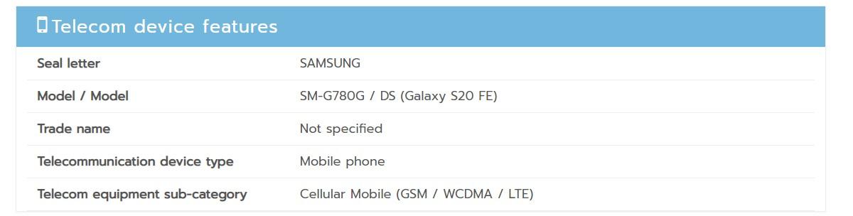 По данным NBTC Таиланда, SM-G780G является телефоном только для 4G, а не 5G