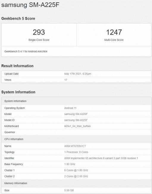 Samsung Galaxy A22 4G появляется на Geekbench с основными характеристиками и сертификатом FCC