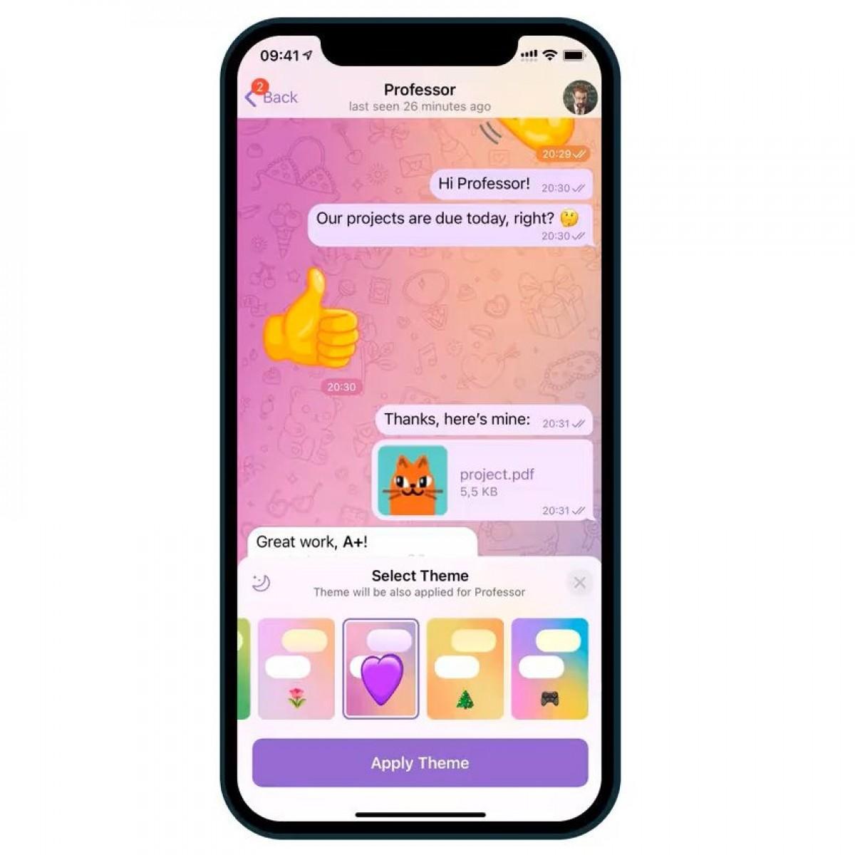 В обновлении Telegram добавлены темы чата, интерактивные смайлы и уведомления о прочтении в группах